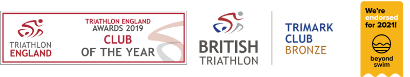 Club of the year, bronze tri mark and Beyond Swim logos