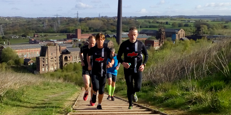 Sunday group run up steps at Chatterley Whitfield